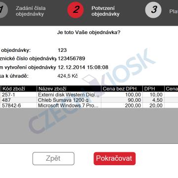Platební aplikace CashMachine - detail objednávky (demo)