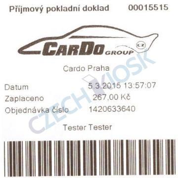 Účtenka (krátká) z platební aplikace CashMachine před EET